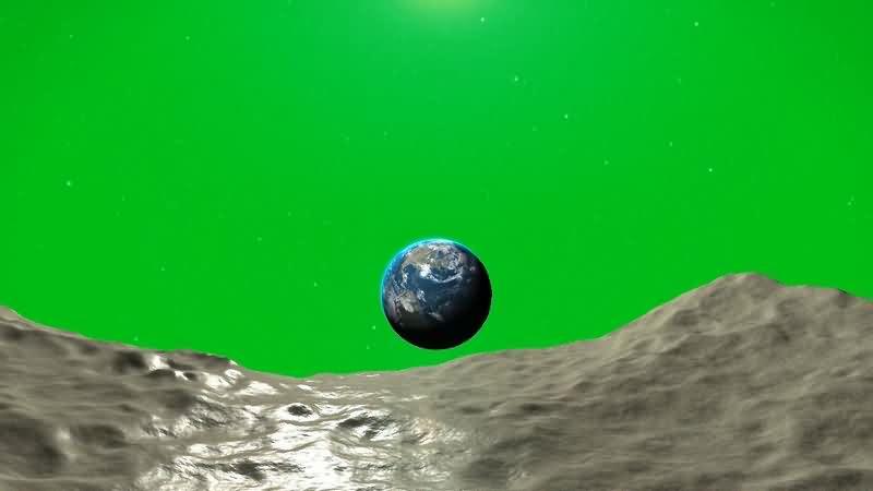 绿幕视频素材月球中看地球