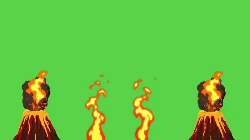 绿幕视频素材火山