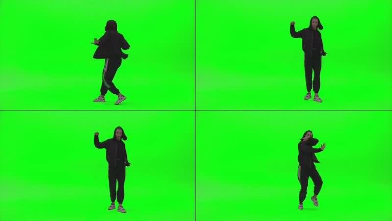 绿幕视频素材街舞女孩