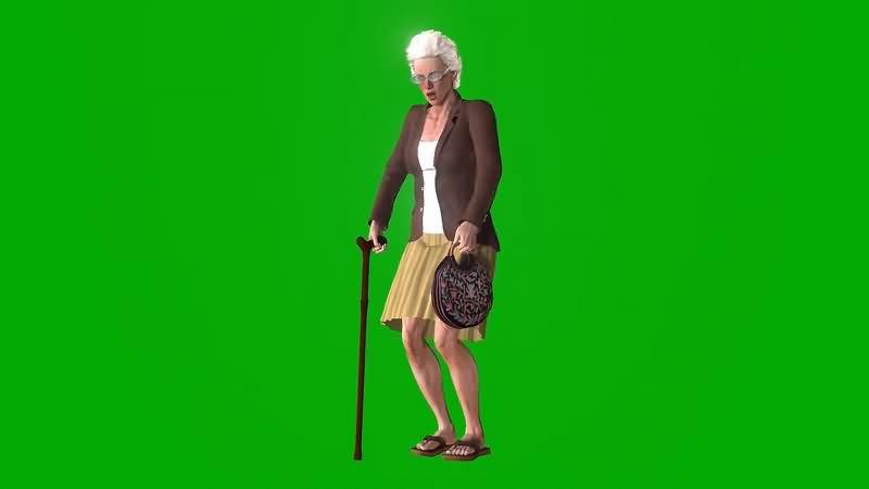 绿幕视频素材老奶奶