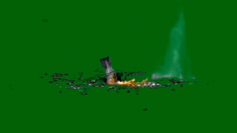 绿幕视频素材导弹轰炸