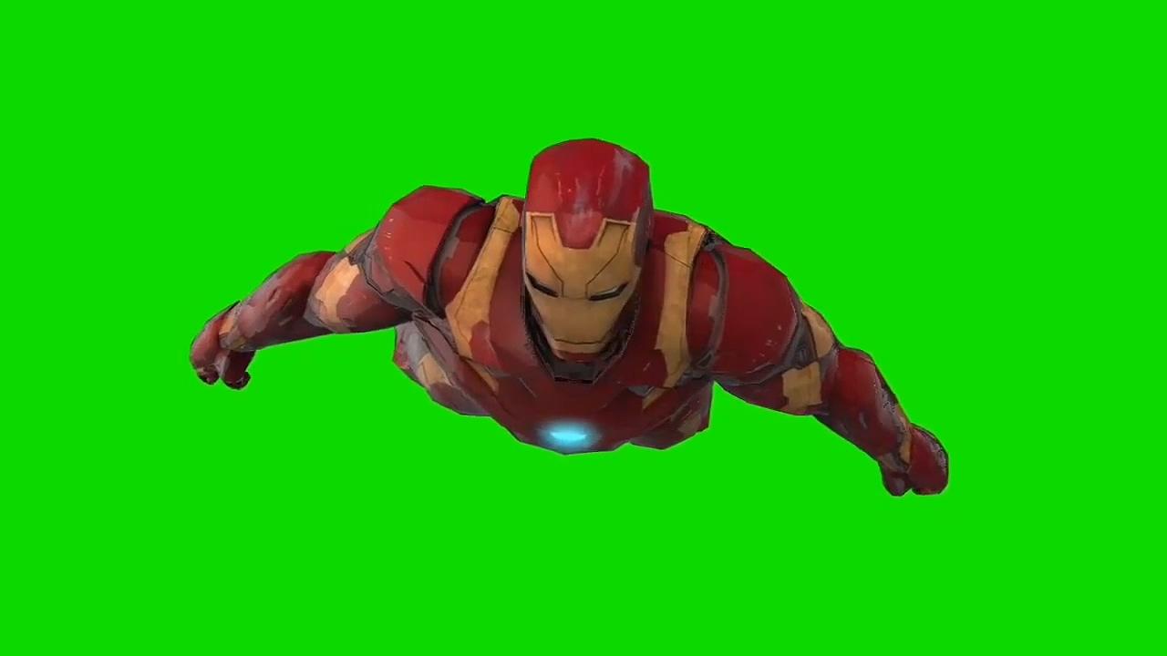 绿幕视频素材钢铁侠飞行