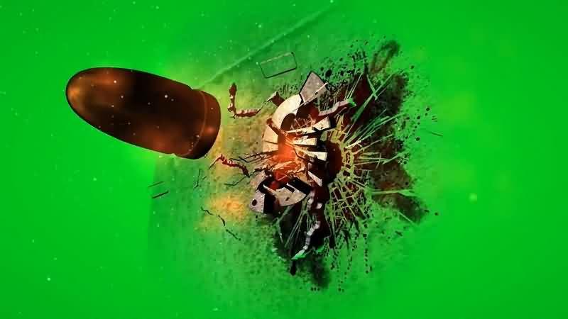 绿幕视频素材子弹穿透