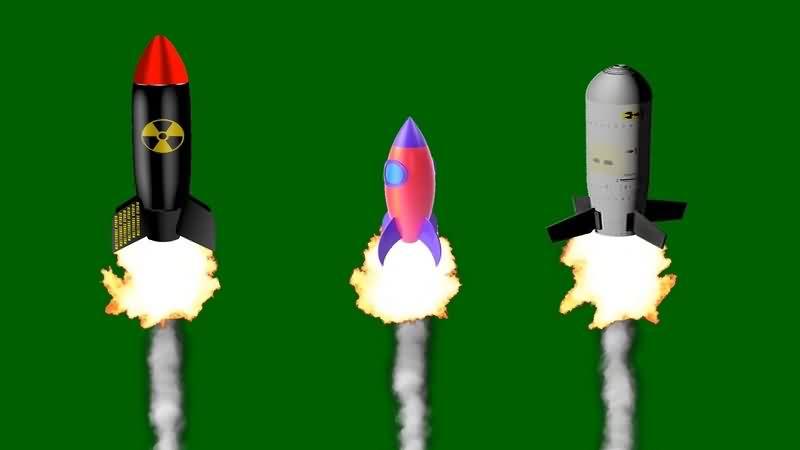 绿幕视频素材火箭发射