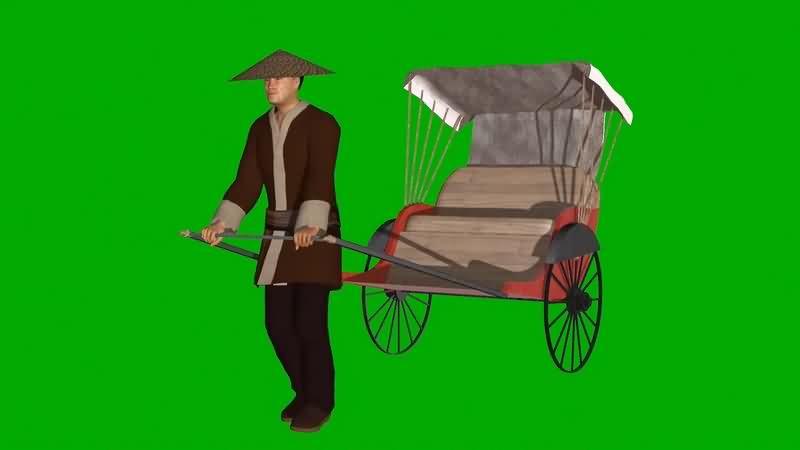 绿幕视频素材人力车