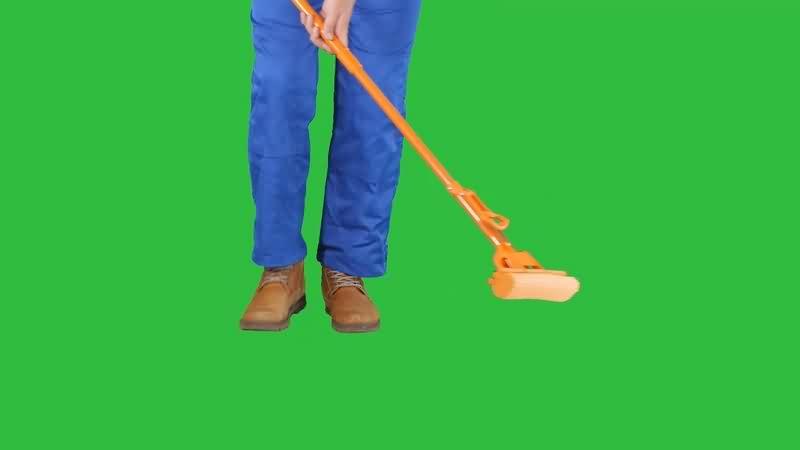 绿幕视频素材扫地
