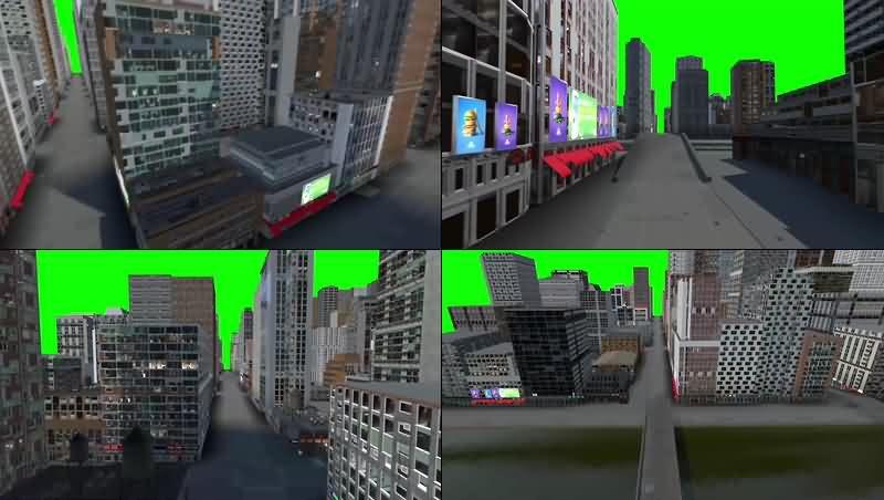 绿幕视频素材城市建筑