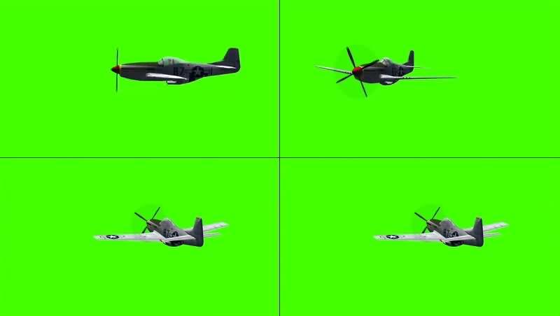 绿幕视频素材古董飞机