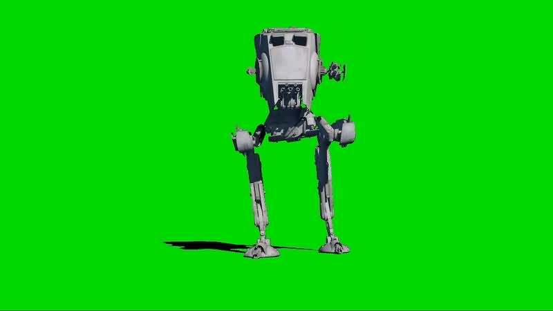绿幕视频素材AT-ST机器人