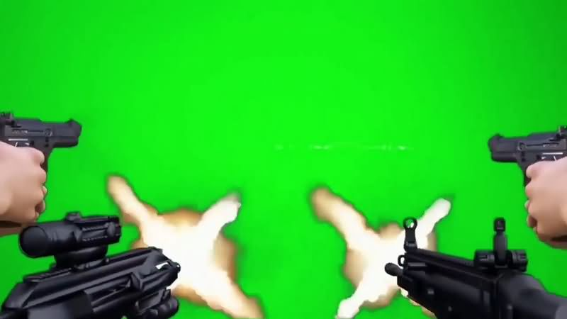 绿幕视频素材开枪射击