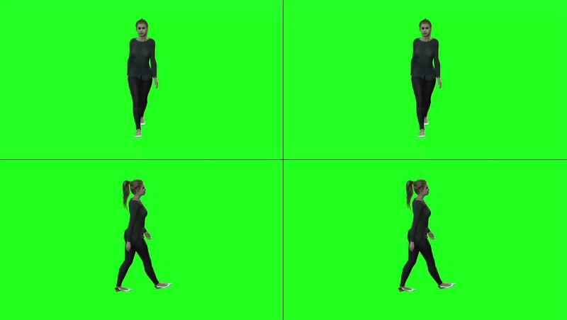 绿幕视频素材走路美女