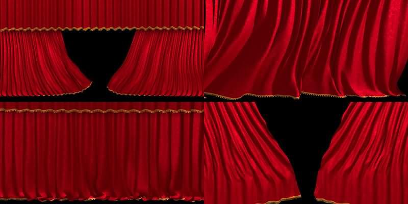 4K品质红色舞台大幕[13款]