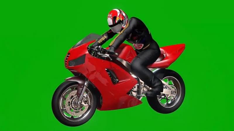 绿幕视频素材摩托赛车