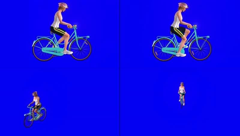 绿幕视频素材骑车女子