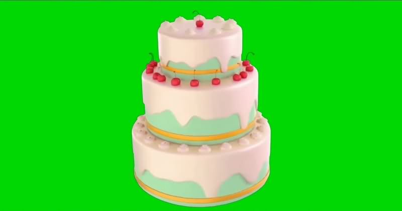 绿幕视频素材生日蛋糕