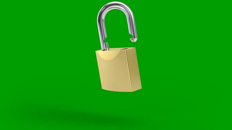 绿幕视频素材金锁