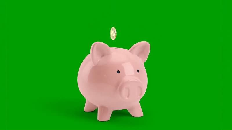 绿幕视频素材存钱罐