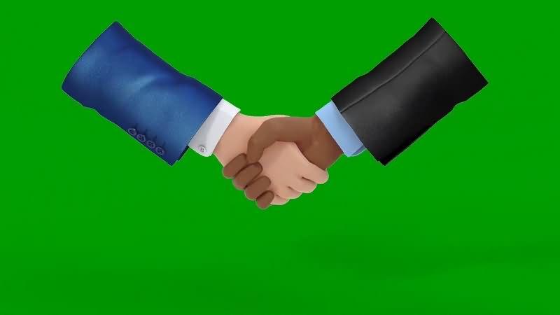 绿幕视频素材握手