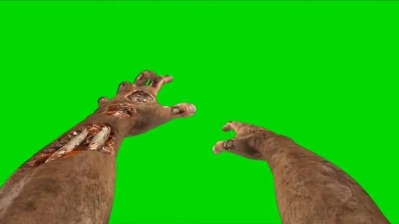 绿幕视频素材僵尸手臂
