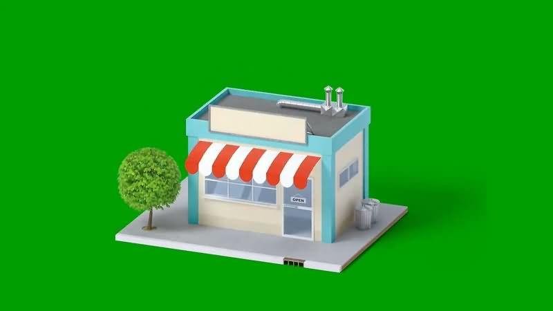绿幕视频素材楼房模型
