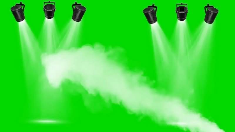 绿幕视频素材舞台射灯烟雾