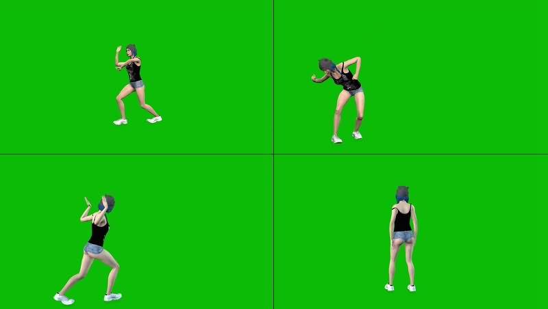 绿幕视频素材嘻哈女舞者
