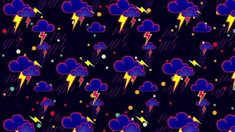 可爱有趣的卡通云朵雷电循环背景视频素材