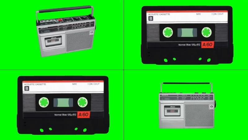绿幕视频素材磁带录音机