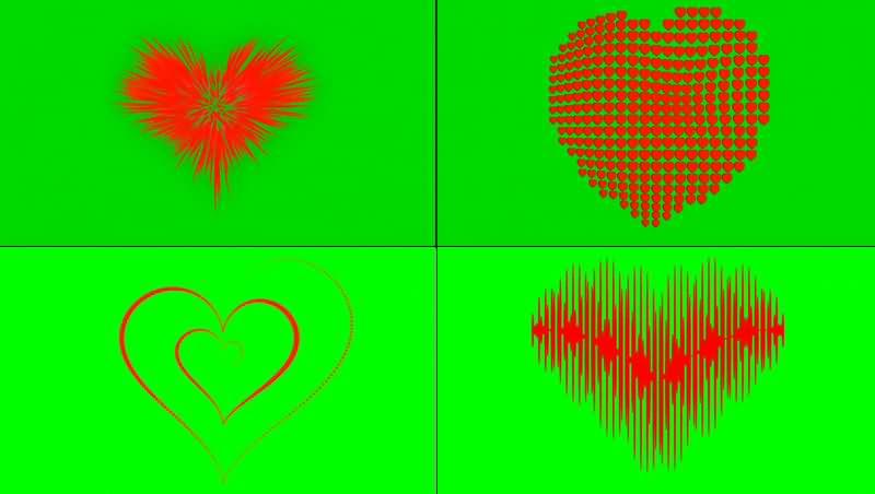 绿幕视频素材爱心图形