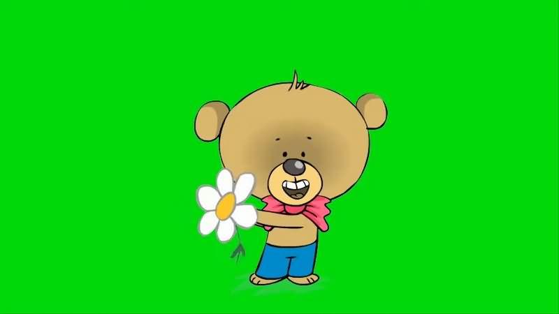 绿幕视频素材可爱小熊