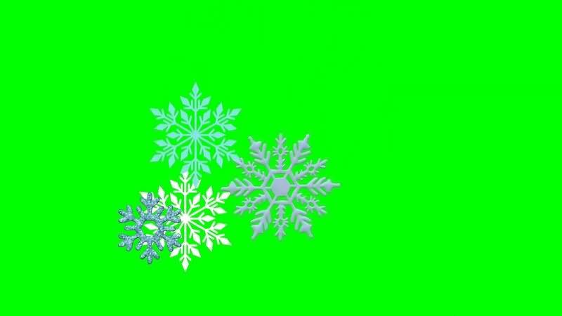绿幕视频素材雪花片