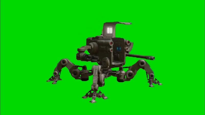 绿幕视频素材多脚机器人