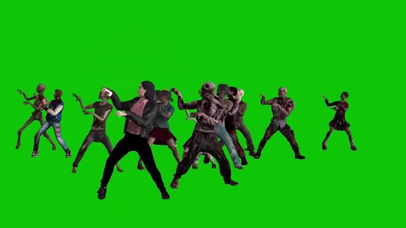 绿幕视频素材僵尸舞