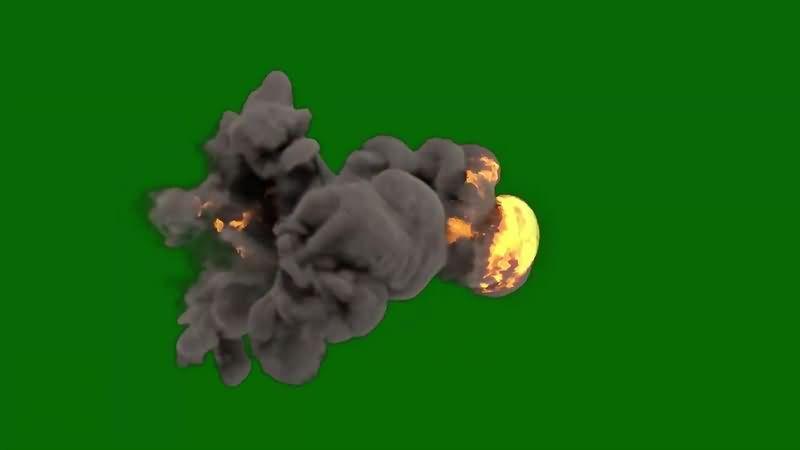 绿幕视频素材火球黑烟