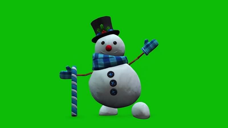 绿幕视频素材雪人雪花