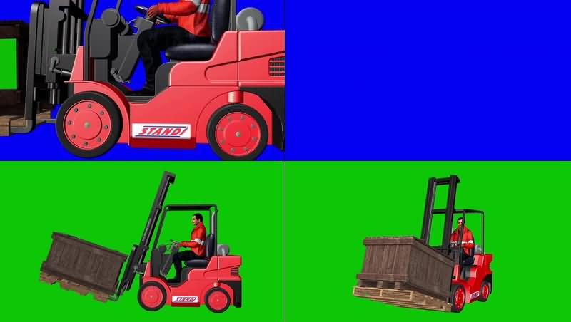 绿幕视频素材叉车司机