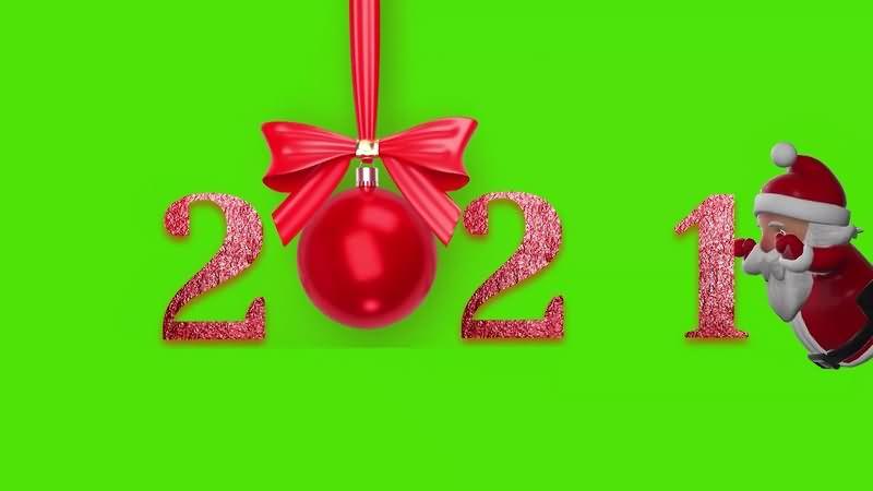 绿幕视频素材2021年新年圣诞快乐