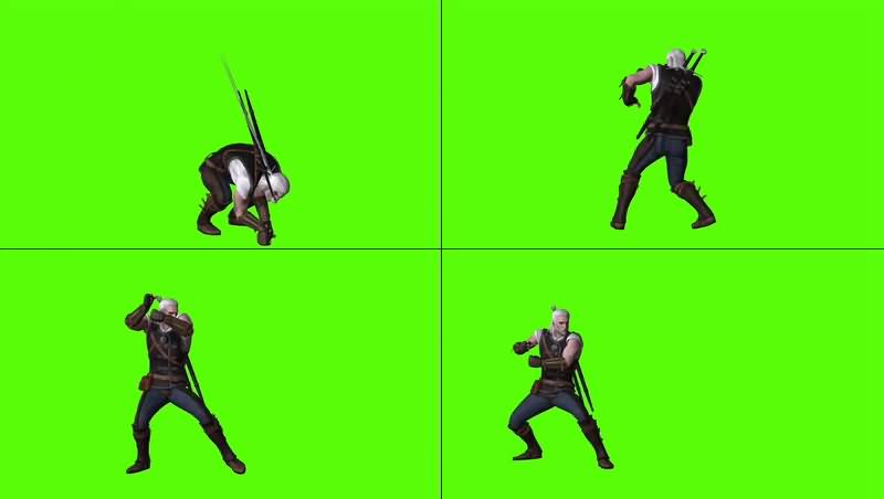 绿幕视频素材格斗人物