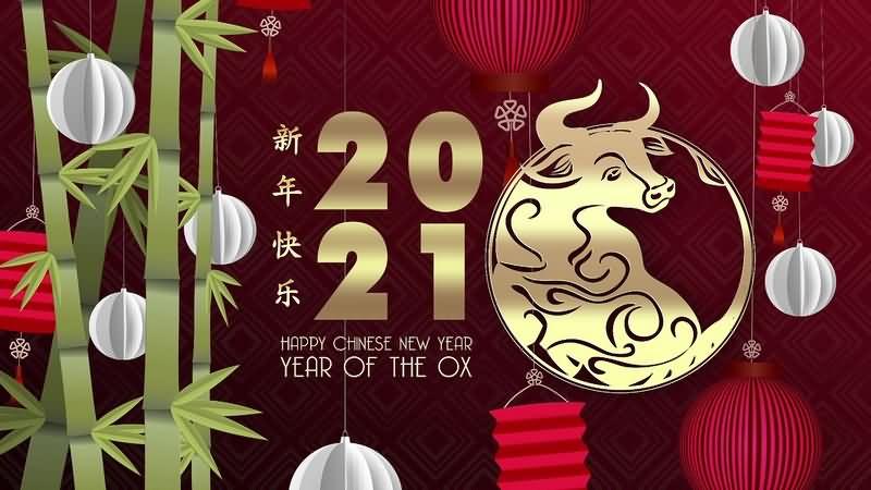 2021牛年新年快乐春节灯笼喜庆背景循环动画视频素材