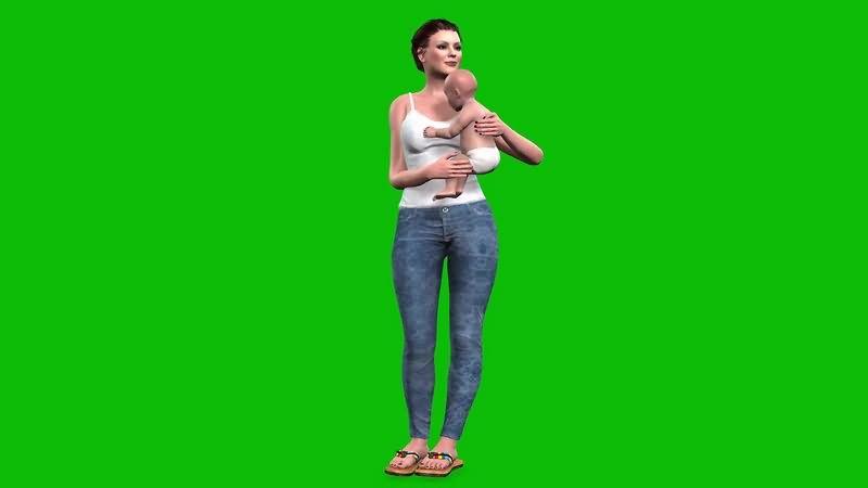 绿幕视频素材母女
