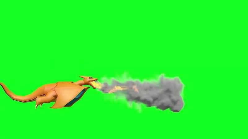 绿幕视频素材喷火龙
