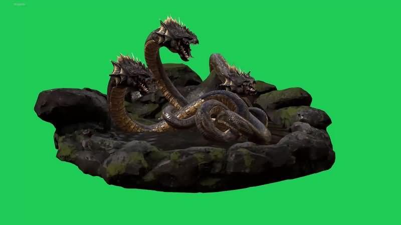 绿幕视频素材三头蛇怪