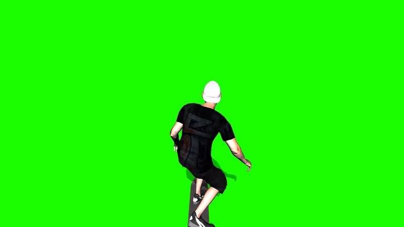 绿幕视频素材滑板男孩