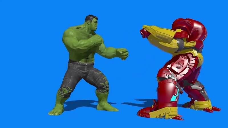 绿幕视频素材绿巨人大战钢铁侠