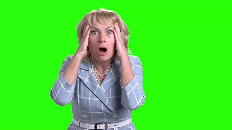 绿幕视频素材吃惊女人