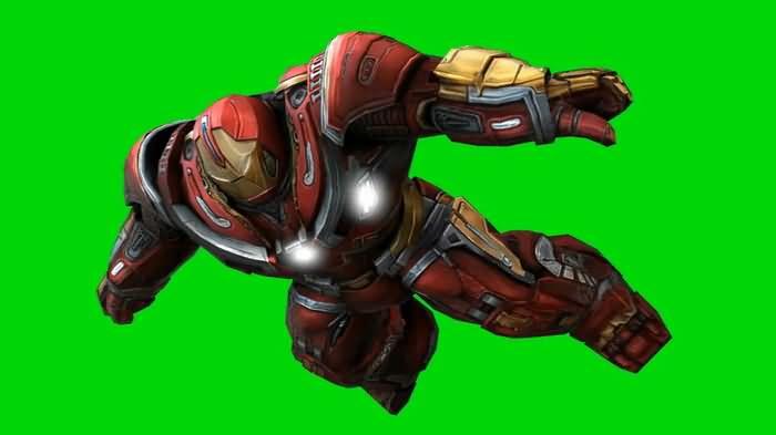 绿屏抠像战斗的钢铁侠反浩克装甲
