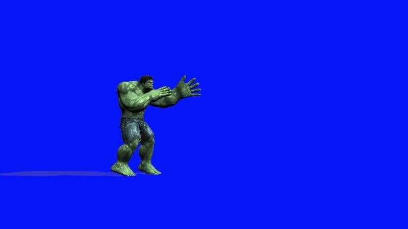 蓝屏抠像战斗的绿巨人