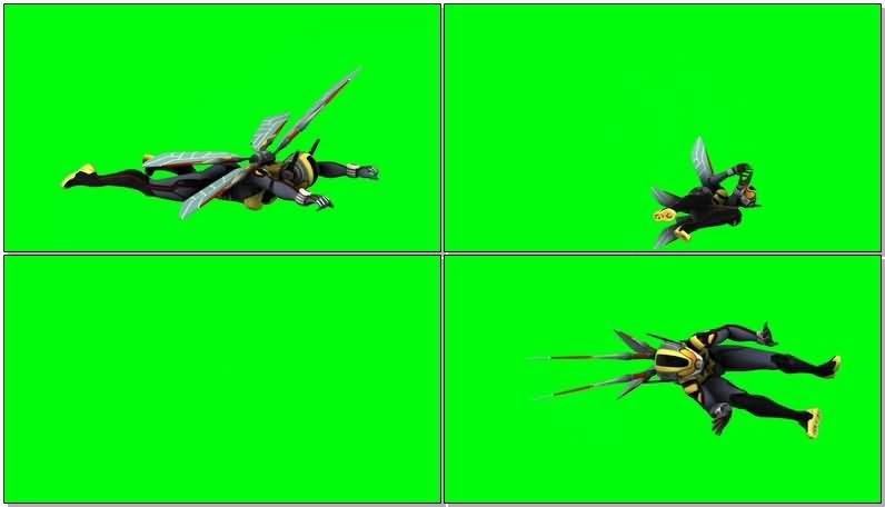 绿屏抠像漫威人物黄蜂女视频素材