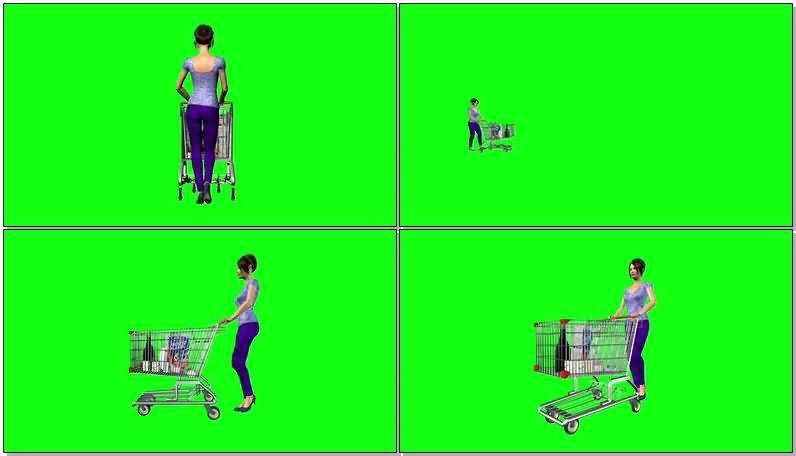 绿屏抠像推超市购物车的卡通女子视频素材