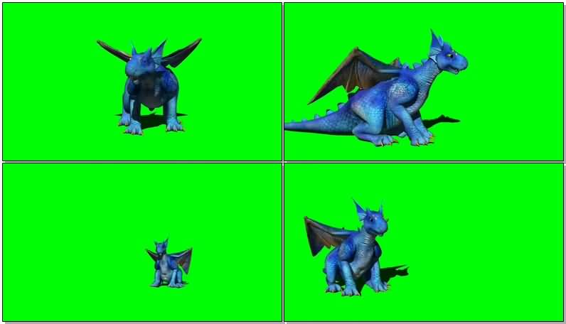 绿屏抠像可爱的蓝色怪兽影视素材